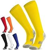 Fußballsocken Stutzen Kinder Jugendliche Socken Fußball Strümpfe - Sportsocken Trainingssocke Sockenstutzen - für Fußball, Laufen, Training (Gelb S)