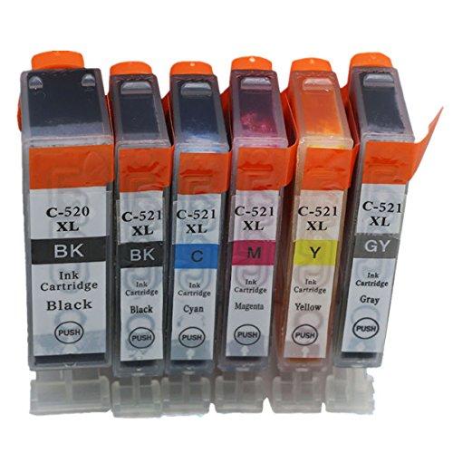 Preisvergleich Produktbild Generisch Kompatible Tintenpatronen Ersatz für Canon PGI 520XL 520 XL CLI 521XL 521 PGI-520 PGI-520XL CLI-521 CLI-521XL PGI-520XL CLI-521XL Tintenpatronen Hohe Kapazität kompatibel für Canon PIXMA IP3600 IP4600 IP4700 MX860 MX870 MP540 MP550 MP560 MP620 MP630 MP640 MP980 MP990 Tintenpatronen für Inkjet Drucker (1 Grossen Schwarz,1 Klein Schwarz,1 Cyan,1 Magenta,1 Gelb,1 Grau)