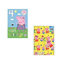 Peppa Pig Age 4 Birthday Card with a Badge + Gift Wrap