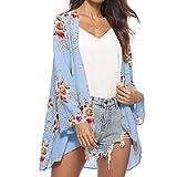 MOIKA Damen Cardigan, Frauen Sommer Floral Chiffon Kimono Cardigans Bluse Cover Ups (XL, C-Blau)