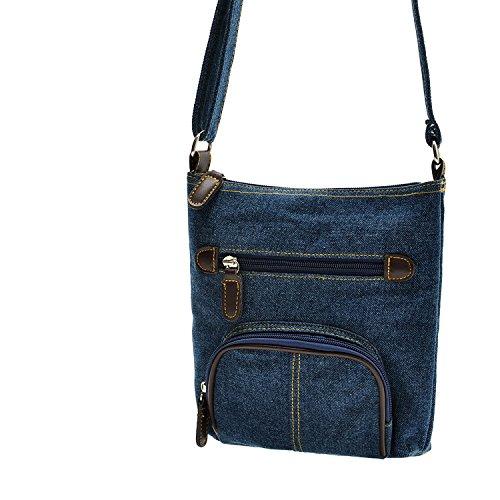 Imagen de uraqt bolsos de vaqueros bolsos  de tela bandolera denim para mujer, azul alternativa