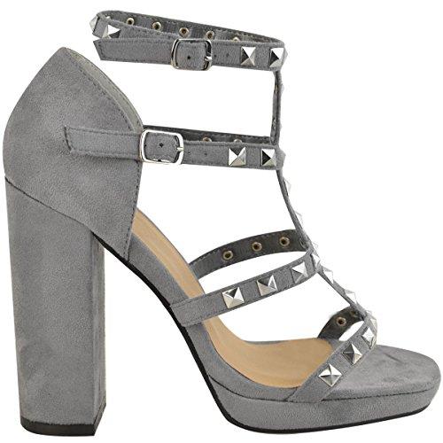 Damen Riemensandalette mit hohem Blockabsatz & Nieten Grau Veloursleder-Imitat
