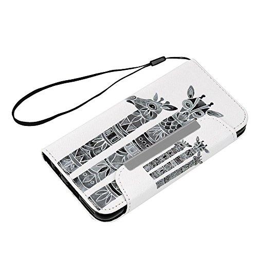 iPhone 6S Plus/iPhone 6Plus Schutzhülle, Lanveni Premium PU Druck Flip Case Schutzhülle aus Leder [Magnetverschluss * * Stilvolles Design] [Book Style] mit Kreditkartenfächer und Standfunktion für iP Giraffes