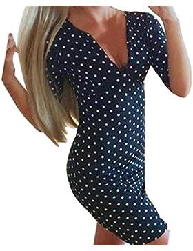 Amlaiworld Mode für Frauen Polka Punkt beiläufige kurze Hülsen Minikleid Partei Kleid