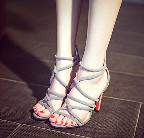 Wealsex Damen Elegant Spitz Stilettos Pumps Rom Riemchen Knöchel Riemen Schuhe Frauen Sandalen Peep Toe high heels Grau