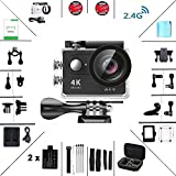Daping Action Camera Full HD 1080P 12MP Fotocamera Subacquea 4K Sport Camera Impermeabile 170° Grandangolare 2.0 Pollici due 1050mAh Batterie e Kit Accessori