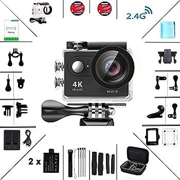 Daping Action Camera Full HD 1080P 12MP Fotocamera Subacquea 4K Sport Camera Impermeabile 170° Grandangolare 2.0 Pollici due 1050mAh Batterie e Kit Accessori