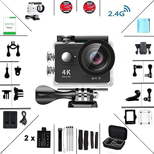 Action Kamera 4K HD Wifi Sport Kamera mit Zubehör-Kit 2.0 LCD Wifi Sport Kamera 30M 1080P 60fps 170° mit Transporttasche 2 Batterien (Paintball-gewehr 2015)