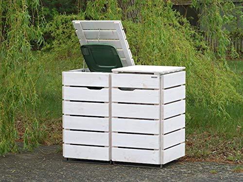 2er Mülltonnenbox / Mülltonnenverkleidung 120 L Holz, Transparent Geölt Weiß - 2