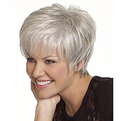 f kurze lockige flauschige Haar Perücken Silber grau Farbe Hitzebeständige Perücken für Frauen (Sache Perücke)