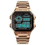 Amstt Retro Armbanduhr Unisex Sport Digitale Uhr Herren Damen Uhren Intelligente Uhr Edelstahlband 50m Wasserdicht (Roségold)