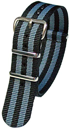 Nylon Uhrenarmband Wasserfest Military Watch Strap 18-24mm Textil Armband Band Schwarz-Grau 18mm