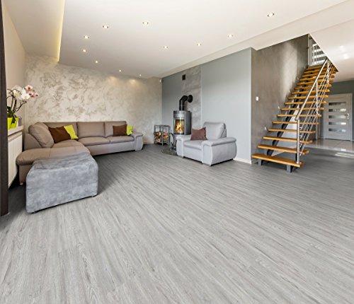 Vinylboden 5,6 mm Direktklick mit Trittschalldämmung 2,64 m² Uniclic in verschiedenen Farben Boden Holzoptik Dielen Designboden PVC (Graueiche)