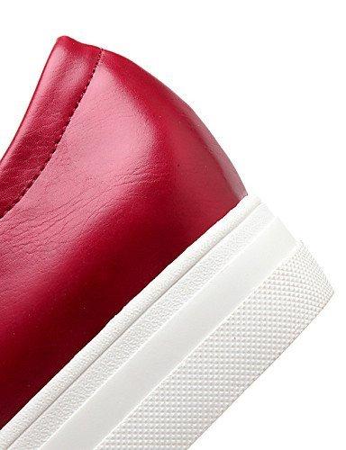 ShangYi Scarpe Donna - Mocassini - Tempo libero / Formale / Casual - Plateau / Creepers / Punta arrotondata - Plateau - Finta pelle -Nero / Rosso Red