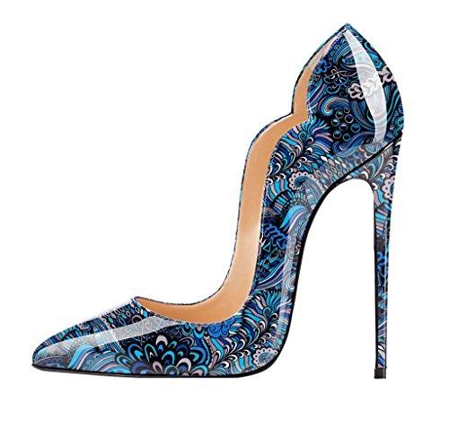 EDEFS - Scarpe col tacco donna - Donne Sexy Stiletto Tacco Scarpe - Tacco a Spillo - Multicolored Blue