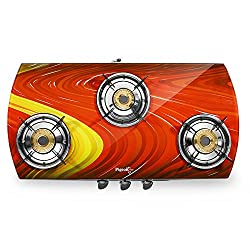 Pigeon Spark Series Oval Red Ocean Full Size 3 Burner Gas Stove - Exclusive Designer Series of Pigeon