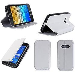 XEPTIO Etui Luxe Samsung Galaxy Trend 2 Lite 3G Blanc Ultra Slim Cuir Style avec Stand - Housse Coque de Protection Samsung Galaxy Galaxy Trend 2 Lite - Accessoires Pochette