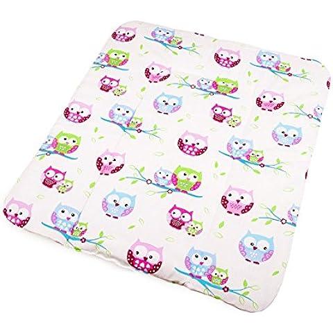 Vizaro - Cambiador de bebé - Acolchado, muy suave - 100% Algodón Alta Calidad - Colección Búhos - Controlado contra sustancias nocivas - Fabricado en la UE