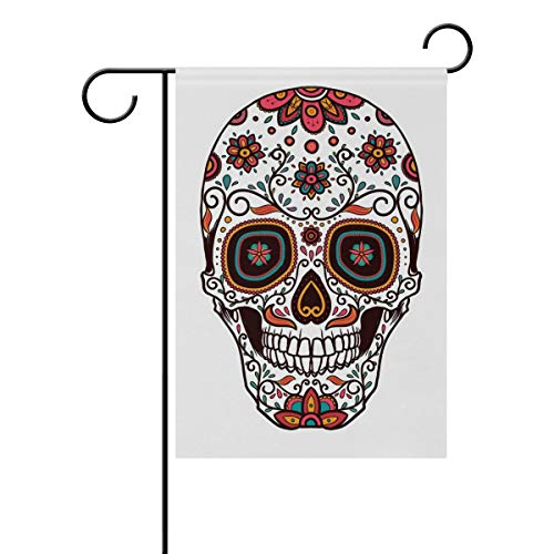 LIANCHENYI Sugar Skull Head Doppelseitige Familienflagge Polyester Outdoor Flagge Home Party Decro Garten Flagge 30,5 x 45,7 cm