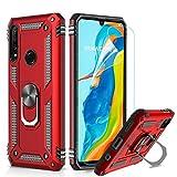LeYi Hülle Huawei P30 Lite Handyhülle,360 Grad Drehbar Ringhalter Cover TPU Magnetische Bumper Stoßdämpfung Schutzhülle mit HD Folie Schutzfolie für Case Huawei P30 Lite Handy Hüllen Rot Red