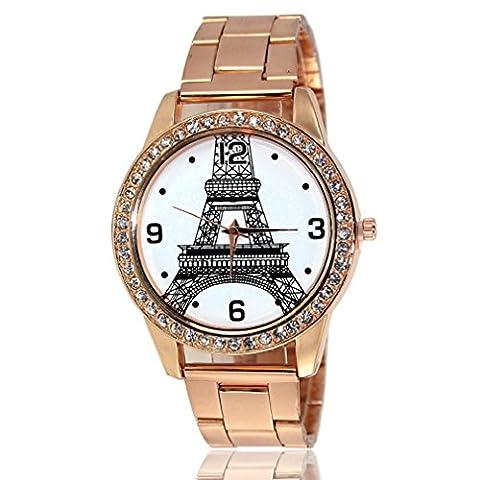 Tongshi Eiffelturm Gold Uhren Diamant Zifferblatt Gold Stahl Analog Quarz