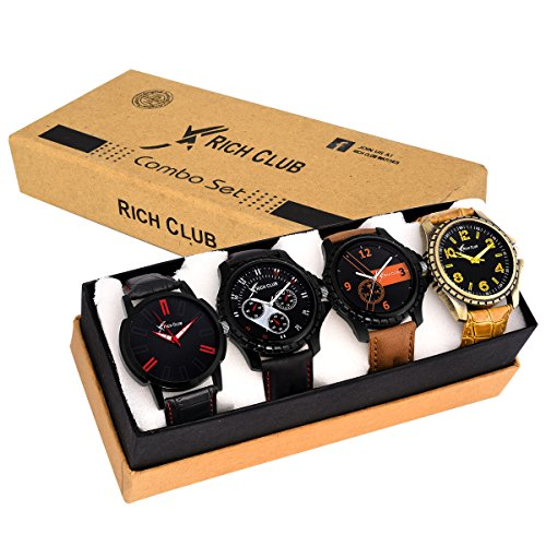 Rich Club Collection Of 4 Analogue Multicolor Dial Men\'s And Boy\'s Watches
