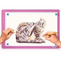 amzdeal Tablette Lumineuse A4 Luminosité Réglable DE 10% à 100%, Table Dessin Ultra-Mince USB Charge, pour Calque Traçage 2D Animation Calligraphie Peinture Écriture - Nouvelle Version
