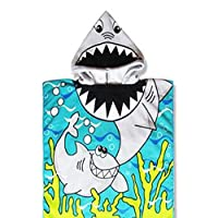 CCMART Beach Poncho Tiger Shark Kids Beach Towel 60 X 120 CM Fast Drying Hooded Towel for Kids