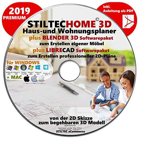 """""""HOME 3D"""" Haus-und Wohnungsplaner 3D Software Premium 2018 inklusive BLENDER und LIBRE-CAD"""