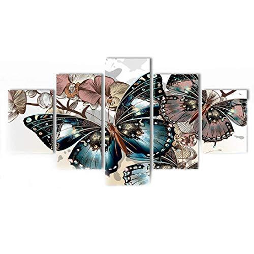 JunBo Couleur HD Toile Couleur Papillon Fleur decoratio
