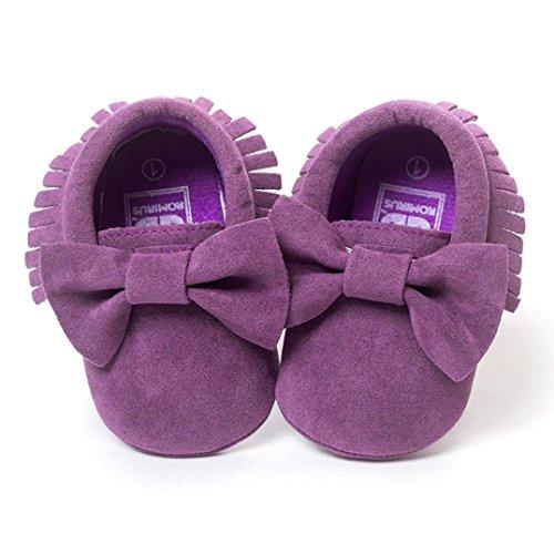 Reasoncool Principessa dell'arco pattini di bambino calza scarpe da bambino (0-6M, Rosa) Viola