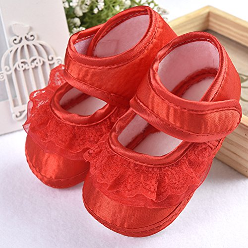Zhhlinyuan Lovely Baby Girl Non-Slip Shoes Newborn Beautiful Lace Princess Shoes Red