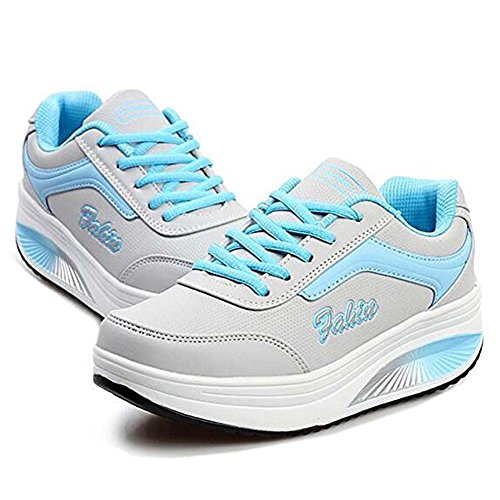 Netz Plateau wedges Freizeitschuhe Sneaker keilabsatz Atmungsaktiv Slip On Mesh-oberfläche Schuhe Laufschuhe Sommer Loafers Damen Blau02