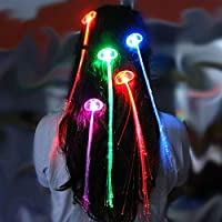 Demarkt Hair Clip Shining LED Light Up Hair Extensions Girls Stocking Filler Clip Pony Tail Fibre Optic (in Random Colors)