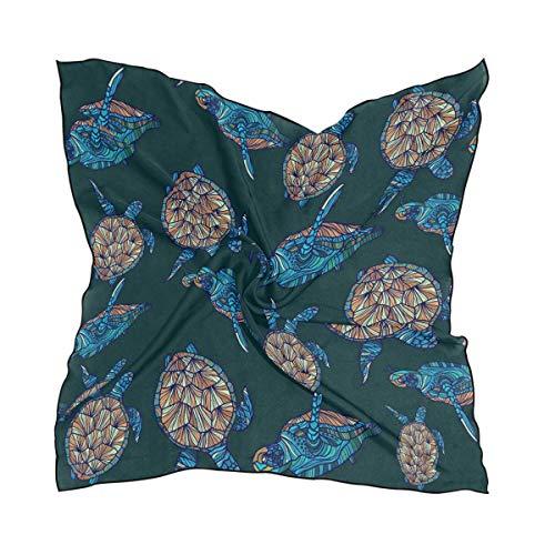 Xukmefat Vintage Sea Turtle on Dark Women's Polyester Square Scarf Chiffon Lightweight Neck Head Scarves Kerchief for Women Girls (Throw-kissen Fahne)