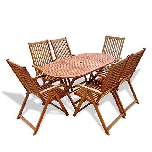 Lingjiushopping extérieur Ensemble de salle à manger Table pliante Bois 7 pièces avec matériau : bois d'acacia (Huile Fini) Couleur : bois naturel