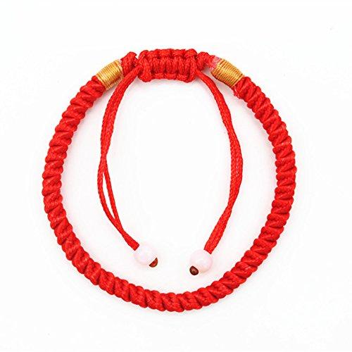 Leisial Pulsera Cuerda Roja Hecha a Mano Trenzado Pulsera Cuerda Hilo Brazalete Rojo Color de Cuerda Colorido para Hombre Mujer Unisexe Ajustable