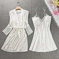 PPOJAS Schlafanzug Frauen Robe & Kleid Set Sommer Half Sleeve Bademantel + Mini Nachthemd Zwei Stücke Nachtwäsche Set Nachahmung Seidenkleid