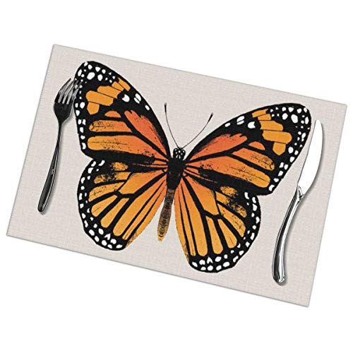 Butterfly Esstisch Set (MrRui Table Mats Set of 6 Esstisch-Platzsets Monarch Butterfly Placemats for Dining Table Washable Table Mats 12x18 Inch)