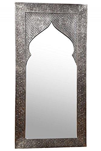 Orient Spiegel Wandspiegel Jamal 160cm groß Silber   Großer Marokkanischer Flurspiegel mit Holzrahmen Orientalisch Verziert   Orientalischer Vintage Badspiegel ohne Beleuchtung als Orientalische Deko