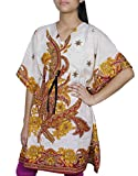 Women Bohemian Floral Kaftan Short Tunic Beach Cover Up Cotton Caftan Free Size