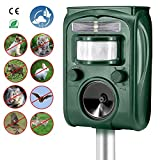 Outdoor Waterproof Ultrasonic Animal Repeller, Solar Powered & USB Charging, Divo Pet Repellent Cat Dog Mice Bird Deterrent Spike For Garden Yard Field Farm Glassland With Infrared Sensor, Green