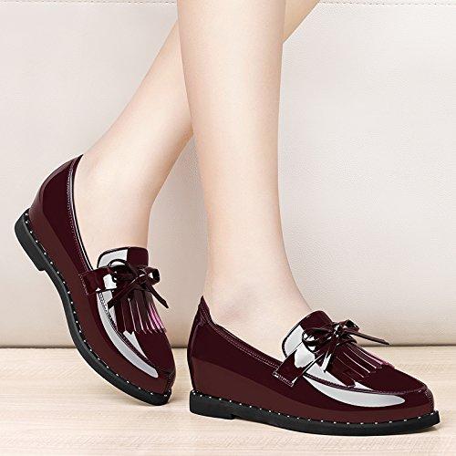 Khskx-femmes Chaussures Major Gland Cuir Laqué Britannique Correspond À Toutes Les Chaussures De Printemps Et D'automne Zichao 37 Claret Trente-quatre