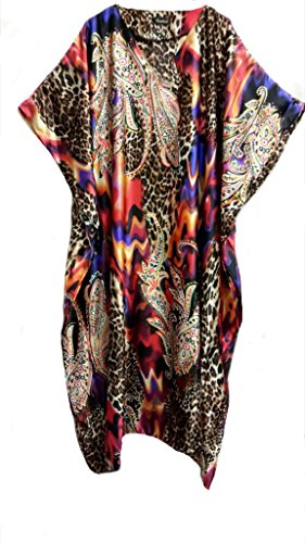(14120) Damen 100% Polyester Woven Printed Soft Silky Satin Long Caftan/Kaftan. One Size Fit All:- UK 10-32 (Kaftan Satin)