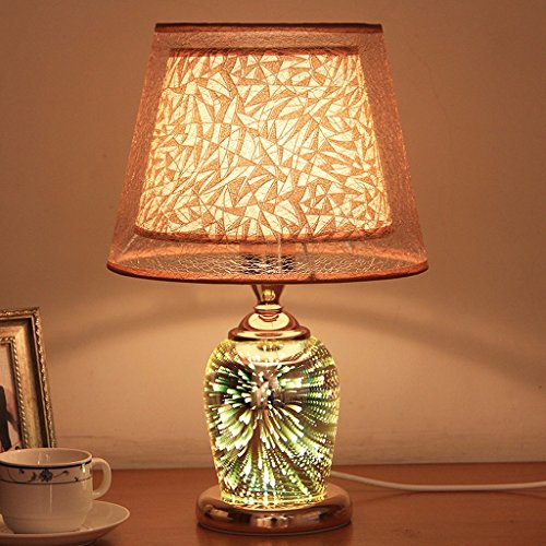 Ywyun Stereoskopisches 3D-Feuerwerk Lampe, Doppelglas Licht LED-Lampen, Nacht Wohnzimmer Schlafzimmer dekorative CFL, 41 * 26cm ( Color : Gold ) -