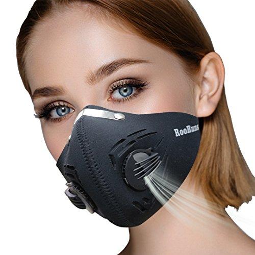 Maschera antipolvere, mascherina antipolvere attivata con velcro anti PM 2,5, maschera di ciclismo allergica al polline lavabile per l'esecuzione di formazione sci casa pulizia giardinaggio lavoro