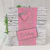 10 Stück Einladungskarte Hochzeit Shabby HOLZ ROSA