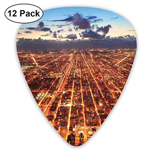 Guitar Picks - Abstract Art Colorful Designs,Chicago Downtown Skyline Aerial Panorama View At Dusk With Skyscrapers,Unique Guitar Gift,For Bass Electric & Acoustic Guitars-12 Pack -