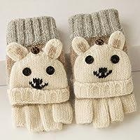 UZI-Inverno caldo imbottito bear baby maglia pura lana mezza clamshell Guanti Guanti cartoon ladies,G