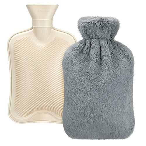 Homealexa Wärmflasche mit weichem Bezug 2L, Premium Naturkautschuk, BS1970:2012 zertifiziert, Sicher und Langlebig Wärmeflasche für Familie - Beige
